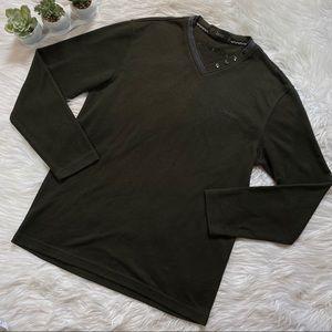 Jeep Mens Sweater Green Logo V-Neck Long Sleeve XL